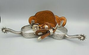E GARCIA Vintage Hand Engraved Silver Single Mount Spurs with Straps