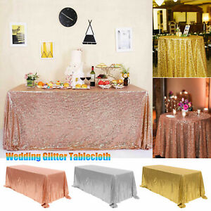 Rectangle Sequin Glitter Tablecloth Sparkly Table Cloth Cover Wedding Party US $13.97
