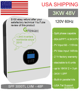 Ships Mid June 48V 3kW Growatt SPF LVM 120V240V solar Inverter Split Phase optn