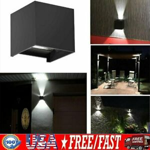12W LED Wall Light Porch Outdoor Cube Sconce Modern Waterproof Up and Down Decor