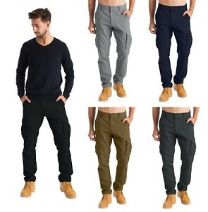 Mens Cargo Combat Work Trousers Chino Cotton 6 pocket full Pant size 32 44