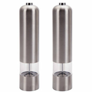 2pcs Stainless Steel Electric Auto Pepper Mills Salt Grinder Shakers Kitchen