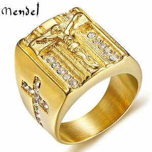 MENDEL Mens Stainless Steel Gold CZ Jesus Cross Crucifix Ring For Men Size 7 15 $11.99