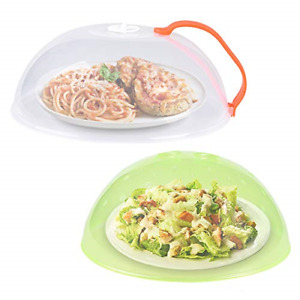 2 Pack Microwave Plate Cover Anti-Splatter Plate Lid with Steam Vents