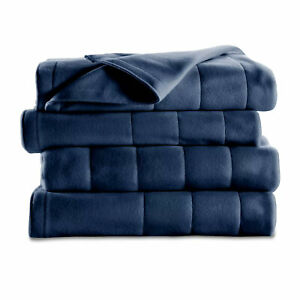 Sunbeam Heated Electric Blanket Royal Dreams Quilted Fleece Full Newport Blue