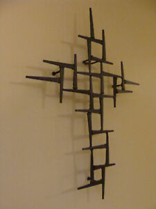 3D Iron Nail Cross Art Sculpture of Jesus Christ Wall Mount Religious 16quot; x 12.5