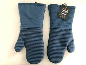 New Set of Two All Clad Silicone Heavy Cotton Washable Oven Mitts - Cornflower