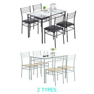 Hot 5 Piece Metal Dining Table Set 4 Chairs Wood Home Dining Room Black/Silver