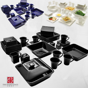 45 Piece Square Dinnerware Set For 6 Banquet Dinner Plates Dinning Bowls Dishes $112.95