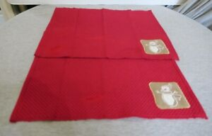 Set of 2 Christmas Design Fabric Table Display Placemats Embroidered Snowman