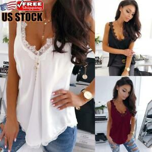 Women Sexy Lace Vest Tank Tops Cami Camisole Summer Sleeveless Top Blouse Shirt $14.51