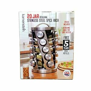 Contemporary Spice Rack Stainless Steel 20 Jars Revolving Rack