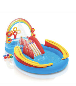 BRAND NEW INTEX Rainbow Ring Play Center Kids Inflatable Pool w Slide FAST SHIP