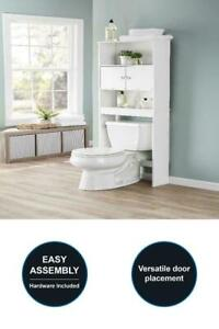 New Bathroom Storage Over the Toilet Space Saver with Three Shelves, White