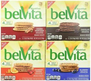 BelVita Breakfast Biscuits Variety Pack Blueberry, Chocolate, Cinnamon Brown..