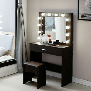 Makeup Vanity Dressing Table Set Dresser Desk with 12 Led Light Hollywood Mirror