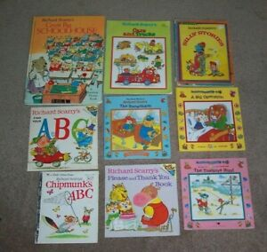 Lot 9 Richard Scarry Books 3 HC Great Big School House ABCs Silly Stories Please
