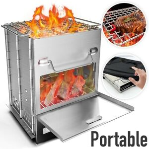 Foldable BBQ Grill Smoker Plans Portable Camping Barbecue Cooker Outdoor Cooking