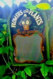 Shabby Chic Wood Chalkboard Garden Sign 24 inches tall & 16 inches wide