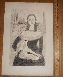 1931 Original Signed Etching by Emile Pierre Bonny Numbered 79220 Marie $29.99