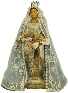 ANTIQUE SCULPTURE STATUE RELIGIOUS MADONNA JESUS MOTHER AND CHILD GOLD BLUE $279.00