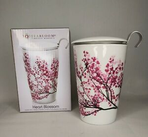 Bloomi Heart Blossom Tea Bloom Steeping Cup With Infuser Ceramic Cup