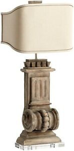 LOFT TABLE LAMP CYAN DESIGN 2-LIGHT LIMED GRACEWOOD RAW COTTON SHADE SATCO