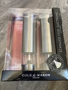 Cole & Mason Salt & Pepper Stainless Steel Electronic Grinder Set With Light