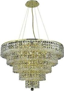 MAXIME CHANDELIER CONTEMPORARY 13-LIGHT CHROME SILVER SHADE GRAY CRYSTAL