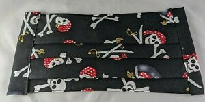 Handmade Fabric Face Mask Washable Filter Pocket Elastic Black Pirate Skull New