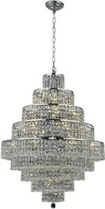 MAXIME CHANDELIER CONTEMPORARY 20-LIGHT SILVER SHADE GRAY CRYSTAL CHROME