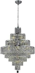 MAXIME CHANDELIER CONTEMPORARY 18-LIGHT CHROME SILVER SHADE GRAY CRYSTAL