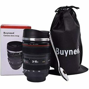 13.5 Oz Camera Lens Coffee Mug Cup -Stainless Steel Travel Insulated With Lid