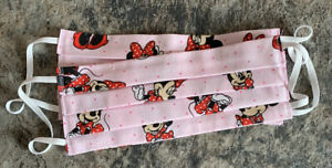 Face Mask Minnie Mouse Pink with Dots Print Fabric Washable
