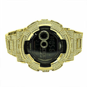 G-Shock DW6900 Yellow Gold Tone Custom Bezel Canary Cz Band Men's Designer Watch