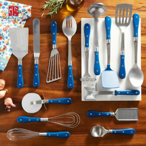 Cooking Utensil Set 15-PIECE The Pioneer Woman Frontier Collection  Cobalt Blue