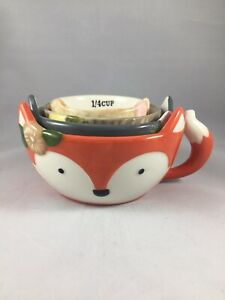 Cute Ceramic Animal Measuring Cups Set Stackable Kitchen Utensils