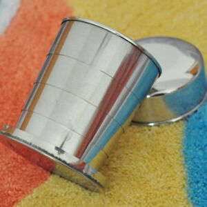 Camping Stainless Steel Silver Collapsible Mug Keychain Drinkware Folding Cup Uk