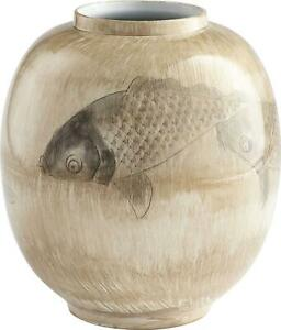 VASE CYAN DESIGN SWIM A CIRCLE FISH LARGE MULTI-COLORED NEUTRALS NEUTRAL