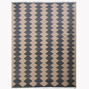 Hand Woven Flat Weave Kilim Wool 6x9 Area Rug Contemporary Brown Charcoal D00108