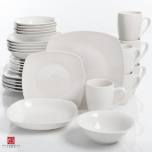 30 Piece Porcelain Dinnerware Set Square Dinner Plates Dish Service For 6 White $46.95