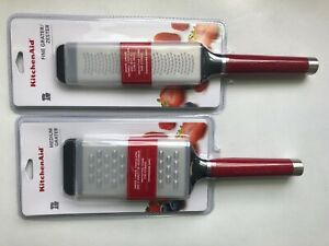 New KitchenAid Empire Red (HERA) Etched Fine Grater / Zester & Medium Grater