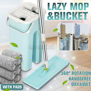 Flat Squeeze Mop And Bucket Free Hand Washing Self Cleaning Microfiber Mop