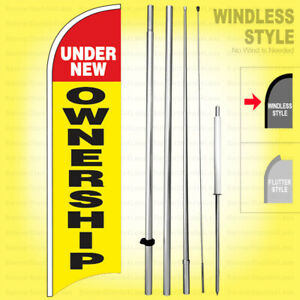 UNDER NEW OWNERSHIP Windless Swooper Flag Kit 15 Feather Banner Sign yb h $59.95