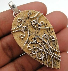 Natural Psilomelane Dendrite German 925 Sterling Silver Pendant Jewelry IB8-5
