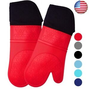 HOMWE Extra Long Professional Silicone Oven Mitt, Oven Mitts  (Red, 14.7 inch)
