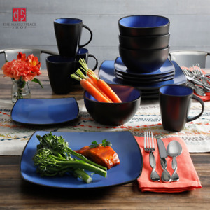 DINNERWARE SET 16 Piece Plates Bowls Mugs Dishes Stoneware Square Dinner Kitchen $46.95