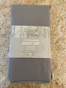 BRAND NEW COTTAGE CHARM COLLECTION 4 PIECE PRE WASHED KING GRAY SHEET SET