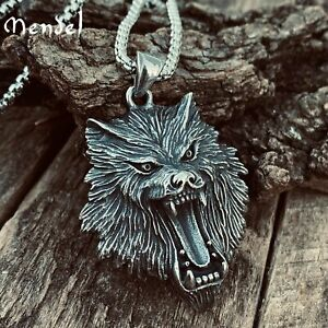 MENDEL Stainless Steel Mens Viking Fenrir Wolf Head Pendant Necklace For Men Him