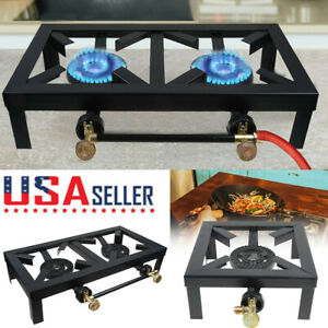 Outdoor Propane Camping Stoves Single Double Cast Iron Burner LPG BBQ Cooker